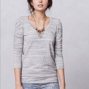 Dolan ruched sleeve gray tee shirt